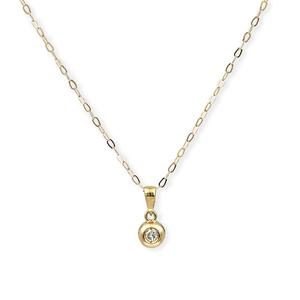 Oro amarillo 750 milésimas(18kt) - Gargantilla con colgante - Diamantes talla de brillante - Altura del colgante 11,50 mm (aprox)