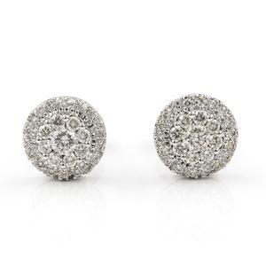 Oro blanco de 18kt - Pendientes - Diamantes talla brillante de 1,60kts - Diámetro del pendiente 9,50 mm VJ2056