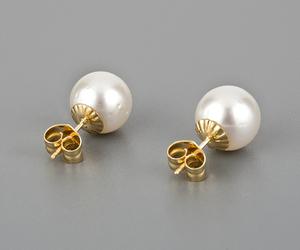 Par de pendientes de oro amarillo de 18 Kt con perlas south sea pearls australianas de 10,95 mm (approx) de diámetro, de agua salada