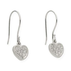 Par de pendientes forma corazón realizados en oro blanco de 750 milésimas (18kt) con 20 diamantes talla de brillante