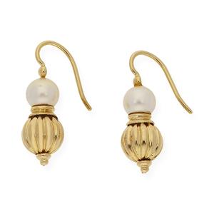 Par de pendientes realizados en oro amarillo 750 milésimas (18kt) formados por bola de oro gallonada y perlas akoya  DSC70008