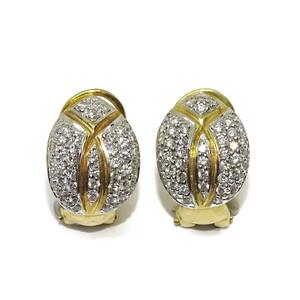 Pendiente clásico de oro blanco y oro amarillo de 18k con 1.40cts de diamantes auténticos Never say never