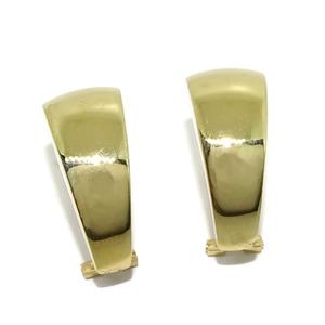 Pendientes de oro amarillo de 18k lisos brillo con cierre omega. 2.40cm de altos por 1.00 Never say never