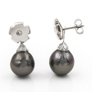Pendiente personalizable dos en uno, puedes convertirlo en un pendiente en forma de flor con diamante o en un pendiente con diseño caído.