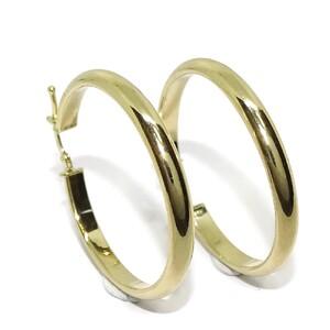 Pendientes aros de oro amarillo de 18Ktes con tubo media caña de 4mm por 3.4cm de diámetro exterior Never say never