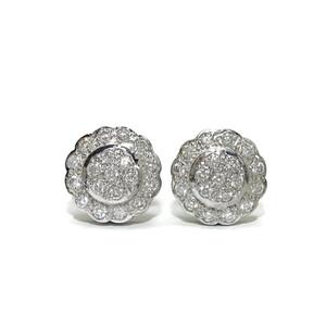 Pendientes clasicos de oro blanco de 18k con 0.76cts de diamantes auténticos. 1.20cm de diámetro, Ci Never say never