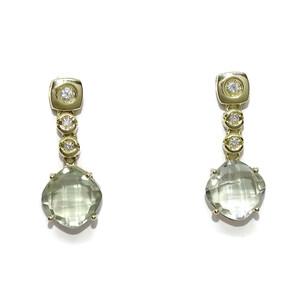 Pendientes con 0.12cts de diamantes y amatistas verdes de 2.20cts en oro amarillo de 18k Never say never