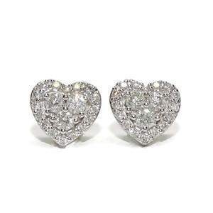 Pendientes con diamantes de 0.73cts en oro blanco de 18k con forma de corazón de 9mm de diámetro. Ci Never say never