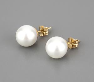 Pendientes con oro amarillo de 18kt y perlas ( Australianas) de 12 mm