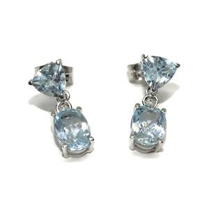 Pendientes con topacio azul sky y diamantes en oro blanco de 18k. Cierre presión. 1.50cm de largos Never say never