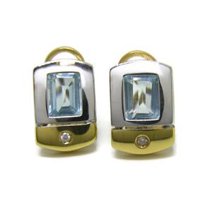 Pendientes de 0.05cts de diamantes y topacio azul en oro blanco y amarillo de 18KtesNever say never