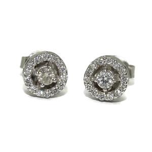 Pendientes de 0.38Cts de diamantes y oro blanco de 18Ktes. 8mm. presión Never say never
