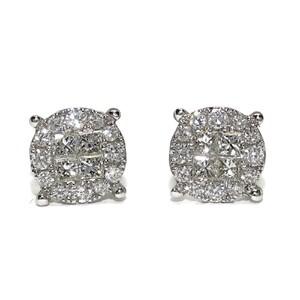 Pendientes de 0.72cts de diamantes y oro blanco de 18Ktes. 8mm de diámetro. presión Never say never