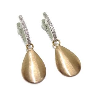 Pendientes de diamantes de 0.16cts y oro blanco y oro rosa de 18Ktes. cierre pala Never say never