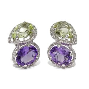 Pendientes de diamantes de 0.38cts y amatistas naturales verdes y moradas. Cierre omega 2.10cm  Never say never