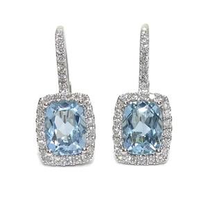 Pendientes de diamantes en oro blanco de 18k con 2 topacios azules Never say never