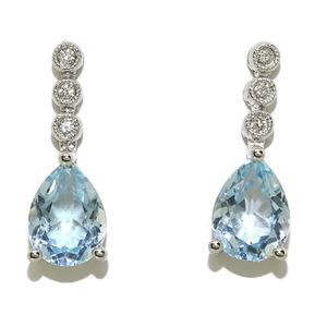 Pendientes de diamantes y topacio azul en oro blanco de 18k. 3.07ct de topacios y 0.06cts de diamant Never say never