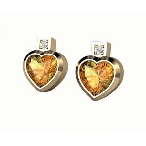 Pendientes de oro con citrino y diamantes. CNE-0022/56 Oreage