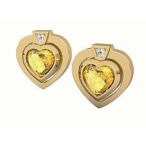 Pendientes de oro con citrino y diamantes. CNE-0028/19 Oreage