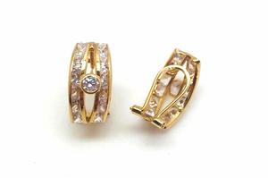 pendientes de oro de 18 kilates con cierre omega - Artesanal - 00073-69