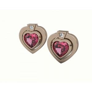 Pendientes de oro rosa con diamantes y rodolita. CNE-0028/32 Oreage
