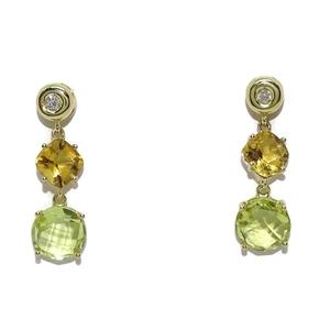 Pendientes exclusivos de oro amarillo 0.10cts de diamantes y piedras finas, citrino y cuarzo limon Never say never