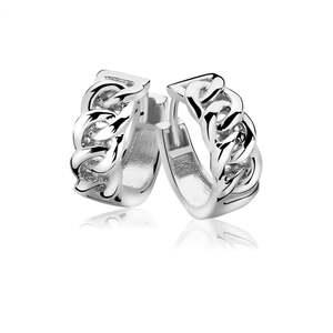 Pendientes zinzi plata rodiada brillo, criollas eslabones ZIO1056