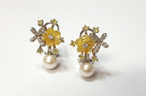 Pendientes pendiente de plata de flor con pera cierre omega - Artesanal - ppbr37017