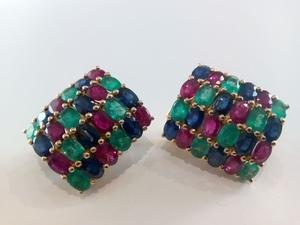 Pendientes Esmeraldas, zafiro y rubíes en oro 18 ktes