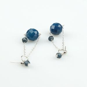 Pendientes ágtat azul y cristal de swarovski PE130 Patricia Garcia