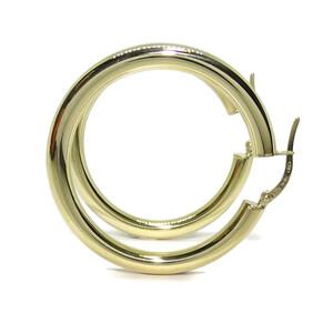 Pendientes aros de oro amarillo de 18k anchos, de 4mm de grosor Never say never