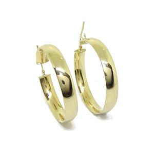 Pendientes aros grandes de oro amarillo de 18k de 6mm de anchos y 3.4cm de diámetro exterior. Never say never