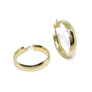 Pendientes aros medianos de oro amarillo de 18k de 6mm de anchos y 3.00cm de diámetro exterior Never say never