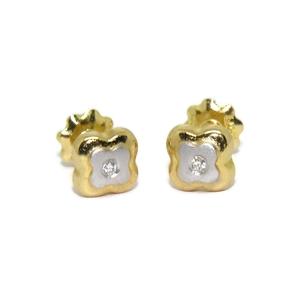 Pendientes de 0.04ct de diamantes y oro amarillo y oro blanco de 18Ktes Never say never
