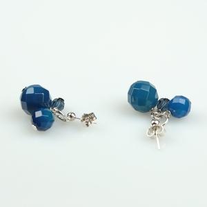 Pendientes de ágata azul y cristal de swarovski PE132 Patricia Garcia