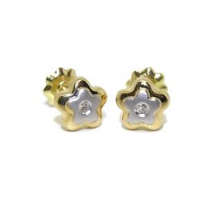 Pendientes de 0.04cts diamantes y oro amarillo y blanco de 18Ktes  Never say never