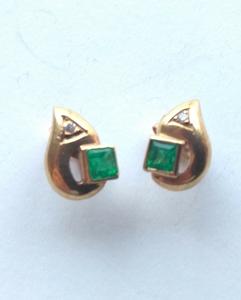 Pendientes De Esmeraldas y diamantes Oro 18k