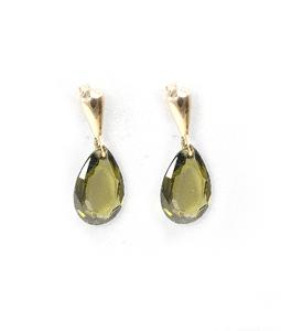 Pendientes de Oro amarillo 18 kt con piedra olivina en forma de gota, Cresber