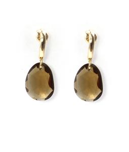 Pendientes de Oro amarillo 9 kt con piedra color cuarzo fume forma asimétrica, Cresber