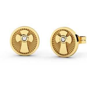Pendientes de Oro amarillo 18 kt con motivo comunión,  0,016 cts Diamantes, Cresber