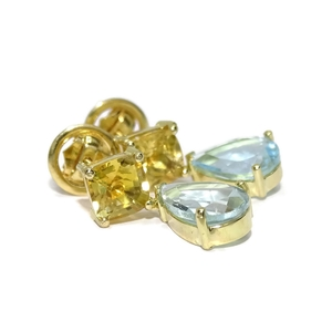 Pendientes de oro amarillo de 18k exclusivos con piedras naturales de color, 2 citrinos y 2 topacios Never say never