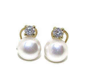 Pendientes de oro amarillo de 18ktes con perla cultivada de 9mm y circonitas Never say never