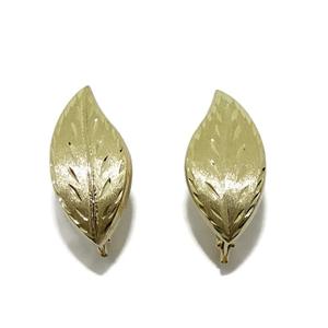 Pendientes de oro amarillo de 18Ktes hojas. cierre pala Never say never