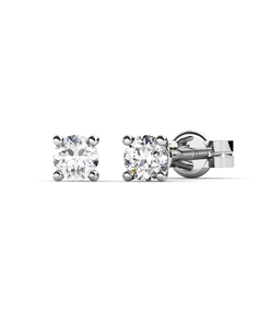 Pendientes de Oro blanco con Diamantes 0,12 quilates Cresber