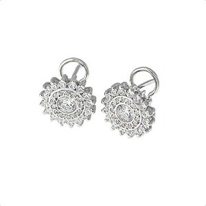 Espectaculares pendientes oro blanco 18 kt con diamantes 1.37 ct, . Cresber