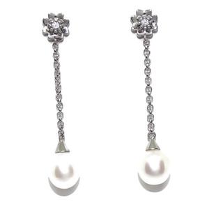 Pendientes de oro blanco de 18k con circonita y perla cultivada de 9mm largos 4.60cm con cadena rolo Never say never