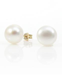 Pendientes de oro de 18 Kt con Perlas de botón de 10 mm de diámetro Cresber