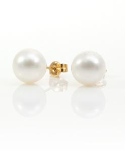 Pendientes de Oro de 18 Kt con Perlas Esféricas de 9 mm Cresber