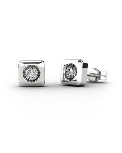 Pendientes en oro blanco 18 Kt con Diamantes de 0,12 quilates Cresber