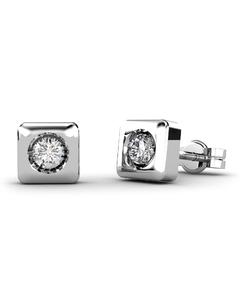 Pendientes en oro blanco 18 Kt con Diamantes de 0,16 quilates Cresber